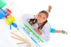 Girl draws Royalty Free Stock Image