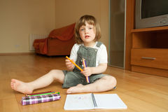 Girl draws. Stock Photo