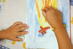 Girl draws Stock Photography