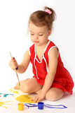 A girl draws. Royalty Free Stock Photo