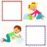 Girl draws, boy says Stock Image