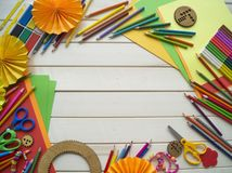 Girl draws. Children`s creativity. Favorite hobby for children. Materials and tools. stock images