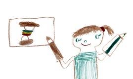 Girl draws food Stock Photos