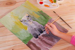 Girl draws gouache Royalty Free Stock Images
