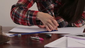 Girl draws a house project 11 stock footage