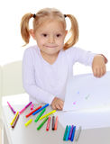 The girl draws with markers Royalty Free Stock Photography
