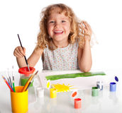 Girl, draws paint Stock Image
