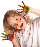 Girl, draws paint Stock Photography