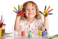 Girl, draws paint stock image