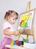 The girl draws a painting Stock Photography