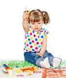 Girl draws paints Stock Photo