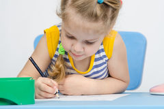 The girl draws pencil concentration Stock Images