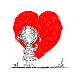 Girl draws red heart, valentine card sketch for Royalty Free Stock Photo