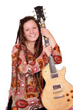 Girl with dreadlocks and electric guitar portrait Stock Photography