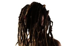 Girl with dreadlocks in front of her face. Portrait of a caucasian girl with dreadlocks in front of her face Royalty Free Stock Images