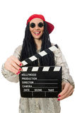 Girl with dreadlocks holding clapperboard isolated Royalty Free Stock Image