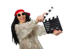 Girl with dreadlocks holding clapperboard isolated Stock Photography