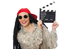 Girl with dreadlocks holding clapperboard isolated Stock Photo