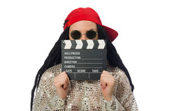 The girl with dreadlocks holding clapperboard Royalty Free Stock Photos