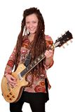 Girl with dreadlocks play electric guitar Royalty Free Stock Images