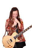 Girl with dreadlocks sing. Girl with dreadlocks hair sing Stock Photos
