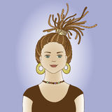 Girl with dreads. Girl with dreadlocks on the blue background Stock Images
