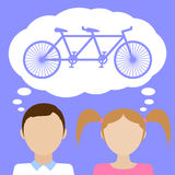 Girl dream about bicycle. Flat vector illustration Royalty Free Stock Photography