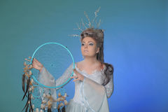 Girl and a dream catcher Royalty Free Stock Images