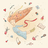 The girl in a dream. Flight. Women`s accessories. Royalty Free Stock Photography