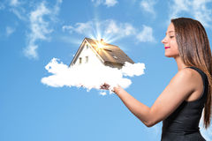 Girl with Dream House Royalty Free Stock Image