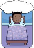 Girl Dreaming. A cartoon girl in bed dreaming Royalty Free Stock Images