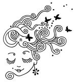 Girl Dreaming. Girl graphic with butterfly details Royalty Free Stock Photos