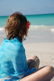 Girl dreaming on a beach Royalty Free Stock Images