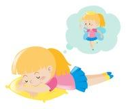 Girl dreaming of being fairy. Illustration stock illustration