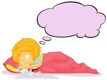 A girl dreaming with an empty callout. Illustration of a girl dreaming with an empty callout on a white background Royalty Free Stock Image