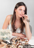 Girl dreaming about jewelry Stock Image