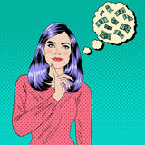 Girl Dreaming About Money. Dreaming Woman. Attractive Woman Stock Images