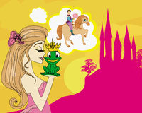 Girl dreaming of a prince on horse. Illustration Royalty Free Stock Photos
