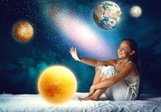 Girl dreaming before sleep Royalty Free Stock Image