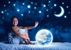 Girl dreaming before sleep Stock Image