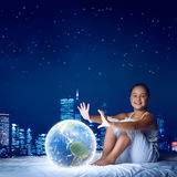 Girl dreaming before sleep Stock Photos