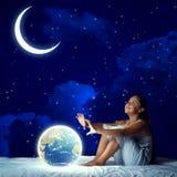 Girl dreaming before sleep Stock Photography