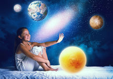 Girl dreaming before sleep Royalty Free Stock Images