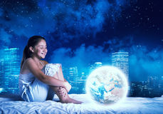 Girl dreaming before sleep Stock Photo