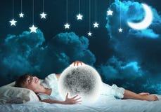 Girl dreaming before sleep Royalty Free Stock Photo