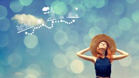 Girl dreaming about world travel. Young redhead girl dreaming about world travel on blue sky background. Stop motion stock video