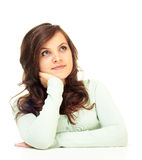 Girl dreams. Girl on white background dreams Royalty Free Stock Photography