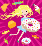 Girl dreams with big donut and tasty sweets Stock Photo