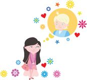Girl dreams of a boy. Girl   among flowers dreams of a boy Royalty Free Stock Photo