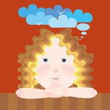 Girl dreams about flying Royalty Free Stock Image